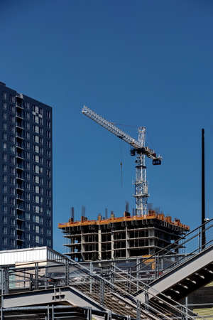 Construction of new high-rise buildings in the center of New Westminster city Imagens