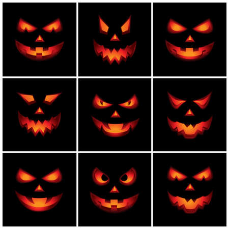 Jack O Lantern Scary Faces Vector
