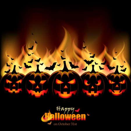 zucche halloween: Jack O lanterne di fronte a fiamme Vettoriali