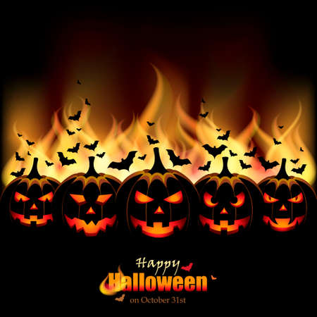 Jack O Lanterns in front of Flames Vector
