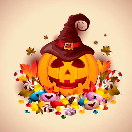 Halloween Pumpkin with Treats Vector