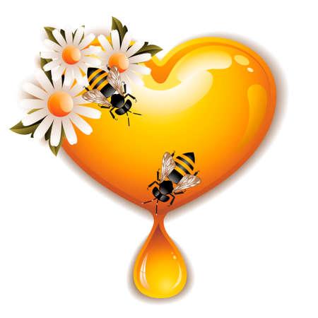 wax glossy: Honey Heart Icon Illustration