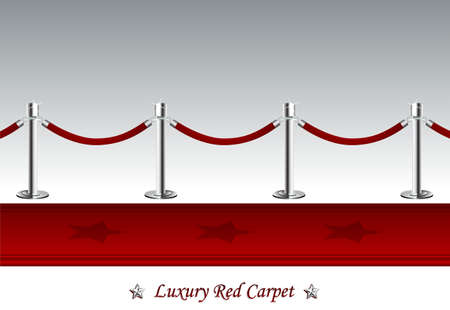 Luxury Red Carpet with Barrier Rope Vector