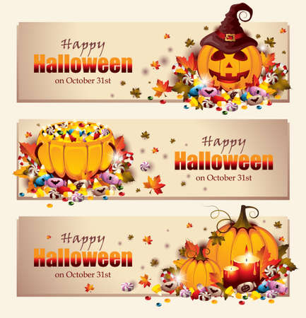 Retro Halloween Banners Vectores