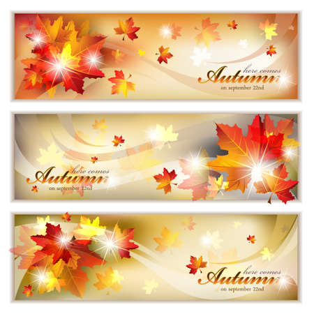 Autumn Banners with Foliage