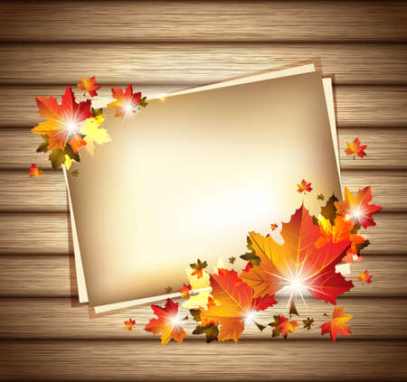 Autumn Foliage with Paper Sheets on Wooden Background Çizim