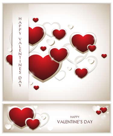 Valentines Background with Banner Çizim