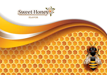 with pollen: Honey Background with Working Bee