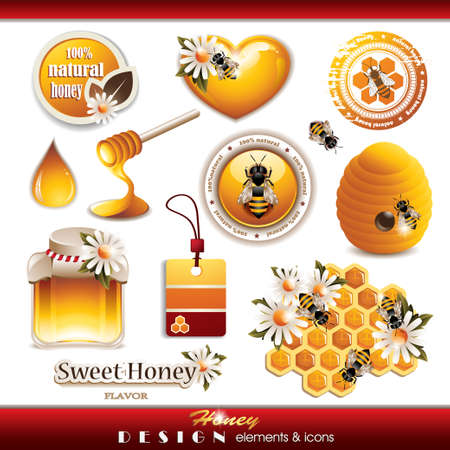 bee on white flower: Honey Design Elements and Icons