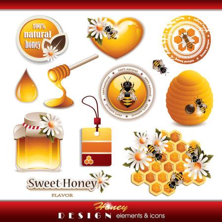 miel de abeja: Miel elementos de diseño y los iconos