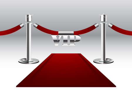 velvet rope barrier: Red Carpet with VIP Sign Illustration