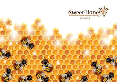 Honey Background with Bees Working on a Honeycomb Vettoriali