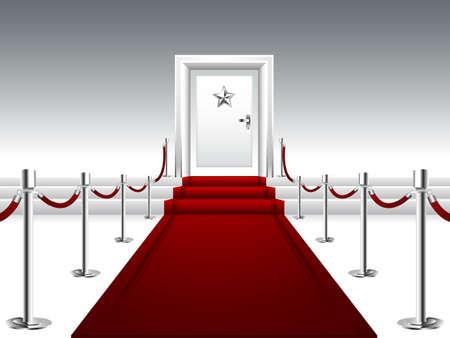 レッド カーペットの階段と銀製の星が付いているドアにつながる