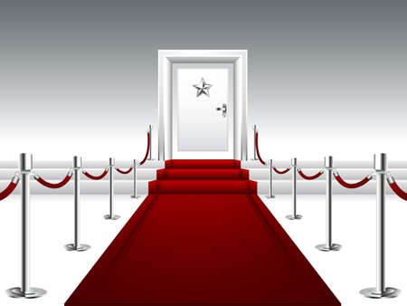 red door: Red Carpet Leading to the Stairs and Door with Silver Star Illustration