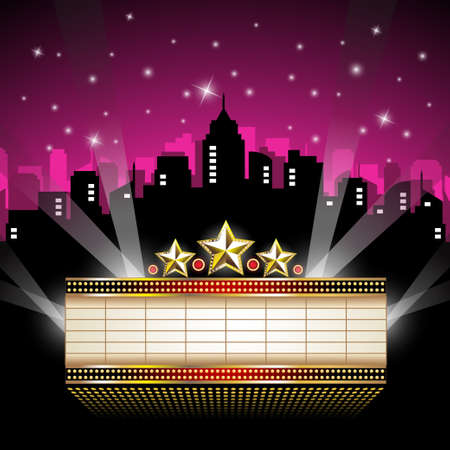 movies: Marquee Sign in front of Cityscape Illustration