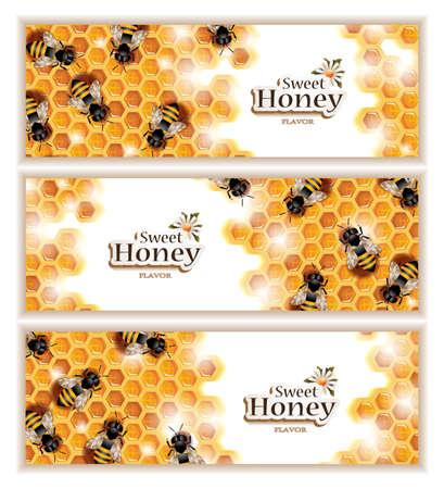 bee on white flower: Honey Banners with Working Bees Illustration
