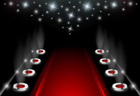 black and silver background: Illuminated Red Carpet