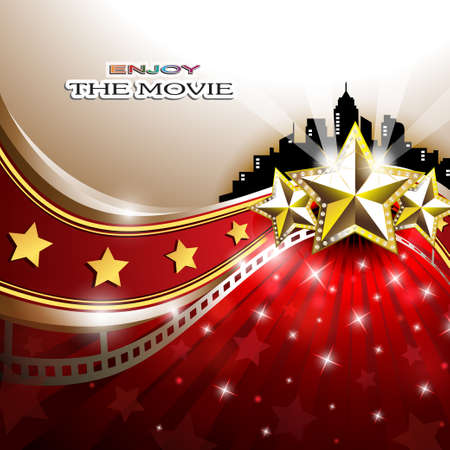 red carpet event: Abstract Background with Golden Stars in front of Cityscape Illustration