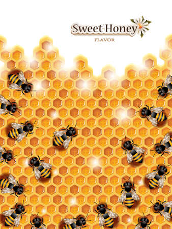 honey: Honey Background with Bees Working on a Honeycomb Illustration