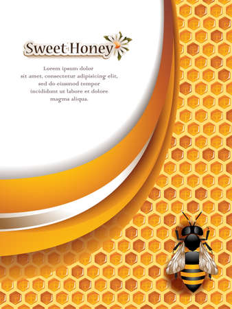 Abstract Honey Background with Working Bee