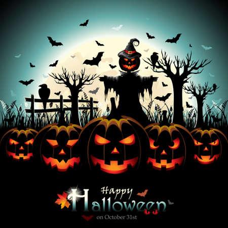 espantapajaros: Calabazas de Halloween con Espantapájaros delante de la Luna Llena