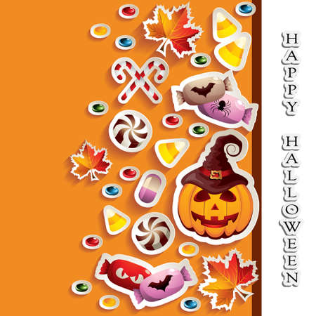 Halloween Background with Candies and Jack O Lantern