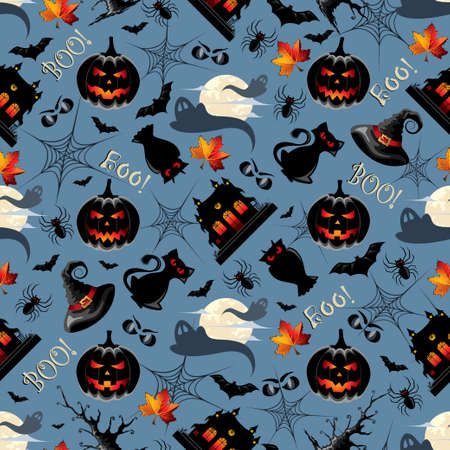 traditional house: Halloween Background Seamless Pattern