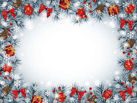 Christmas Frame with lots of Decorative Ornaments