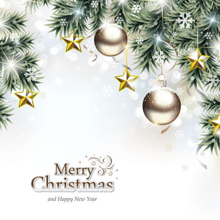 Christmas Background with Decorative Hanging Ornaments
