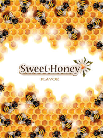 Vector Honey Background with Busy Bees Working on Honeycomb