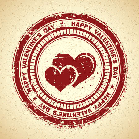 Grunge Rubber Stamp for Valentine's Day with Two Hearts