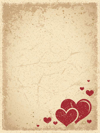 Vintage Valentine's Background with Scratched Grunge Frame and a Group of Red Hearts