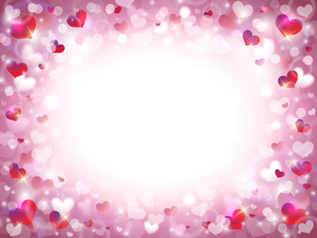 Valentine's Day Background with Frame Composed of Pink, Red and White Hearts