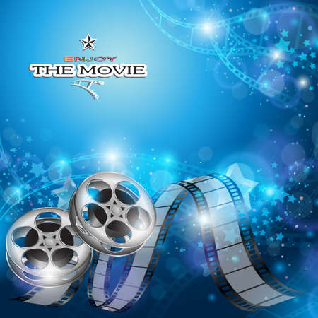 film: Abstract Cinema Background with Blurred Lights, Film Reels and Film Strip Illustration