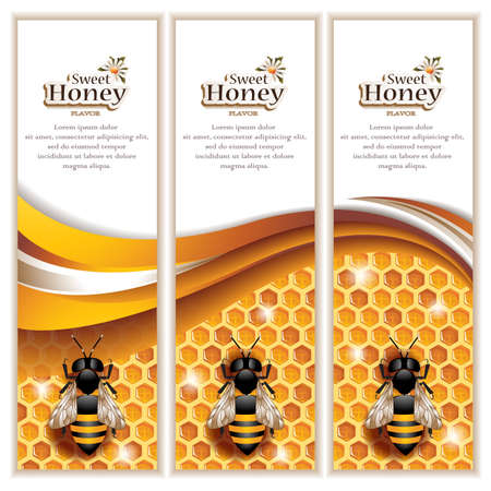 Vector Abstract Honey Banners with Honeycombs, Working Bees and Space for Text