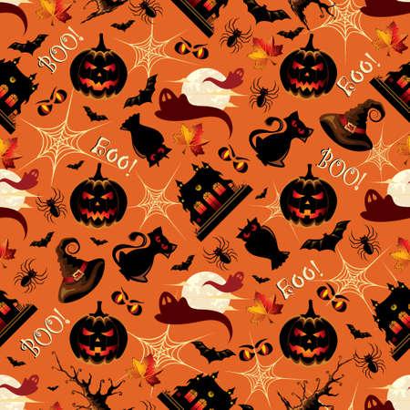 Retro Halloween Background Seamless Pattern Stock Illustratie