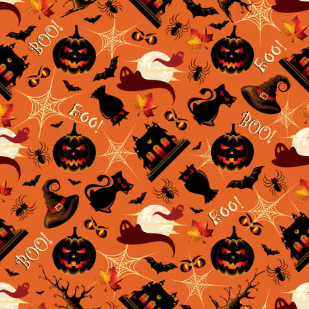 Retro Halloween Background Seamless Pattern Illustration