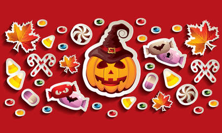 Halloween Banner with Jack O' Lantern, Leaves and Candies