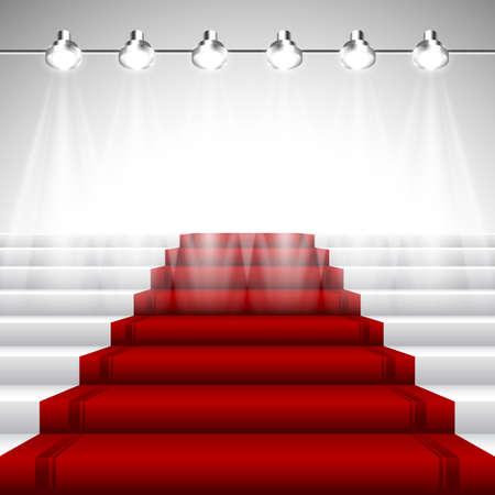 Tapis rouge illuminé sous les projecteurs sur l'escalier blanc avec vue en perspective