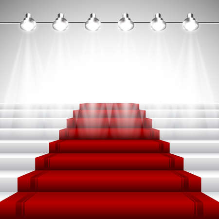 Illuminated Red Carpet under Spotlights over White Stairway with Perspective View