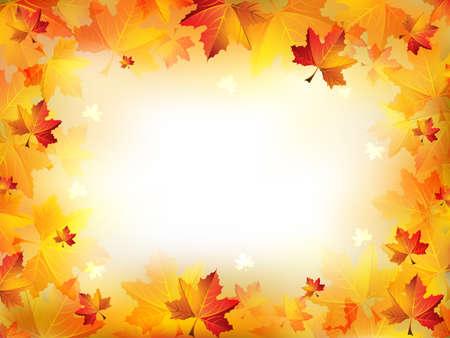 Elegancka ramka jesień składa się z kolorowych liści na niewyraźne tło