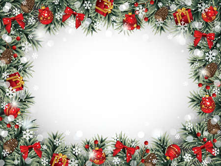 Decorative Christmas Frame with Ornaments, Pine Cones, Fir Branches and Berries Covered with Snowflakes