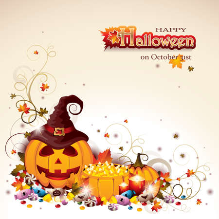 Halloween design template with Pumpkin Basket full of Corns, Autumn Leaves, Candles and lots of Different Sweet Candies.