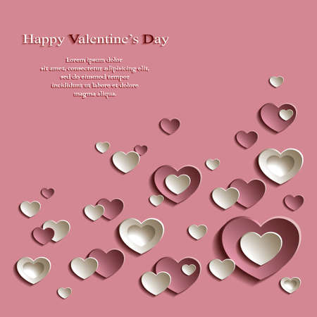 Vector Background for Valentine's Day with Group of Cute Pink and Beige Paper Hearts