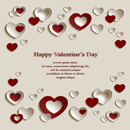 Vector Background for Valentine's Day with Group of Cute Red and Beige Paper Hearts