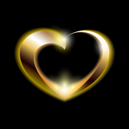 Golden Abstract Shiny Heart for Valentines Day isolated on Black Illustration