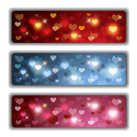 Vector Set composed of Three Valentines Banners with Colorful Shiny Hearts
