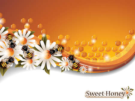 Abstract Honey Background with Working Bees and Spring Flowers