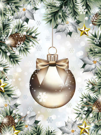 Vector illustration representing hanging Christmas ball with bow among fir branches and pine cones and lot of decorative Christmas ornaments, such as poinsettia flowers, Christmas berries and golden s