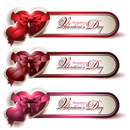Vector set of three cute shining Valentines banners with red, chocolate brown and pink hearts decorate with silky ribbons and bows isolated on white